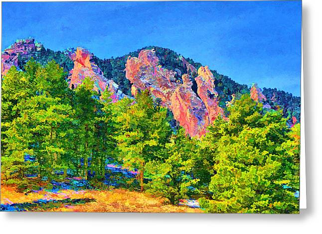 Greeting Card featuring the digital art Boulder Flatirons by Brian Davis