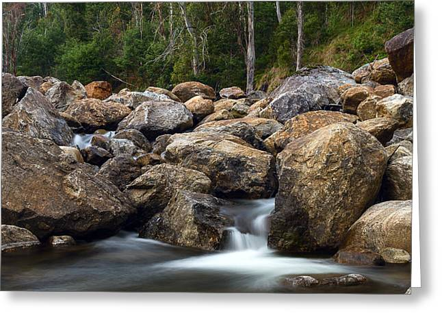 Boulders On The River Greeting Card by Mark Lucey