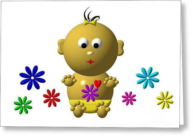 Bouncing Baby Girl With 7 Flowers Greeting Card by Rose Santuci-Sofranko