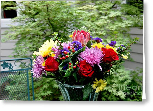 Bouquet Behind Her Bedroom Window  2 Greeting Card by Tanya  Searcy