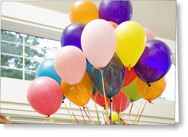 Bouquet Of Balloons Indoors Greeting Card