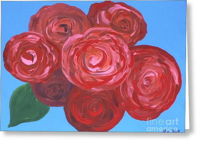 Greeting Card featuring the painting Bouquet Of Roses by Alys Caviness-Gober