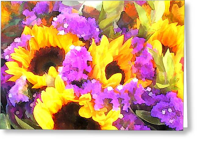 Bouquet Of Sunflowers And Purple Statice Greeting Card