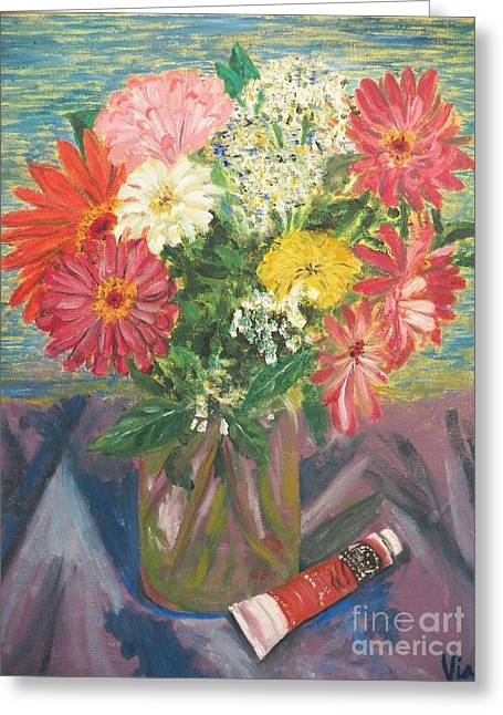Bouquet With Paint Greeting Card by Judy Via-Wolff