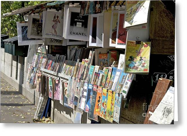 Bouquiniste Book Seller At Quays Of Seine Paris Greeting Card by Bernard Jaubert