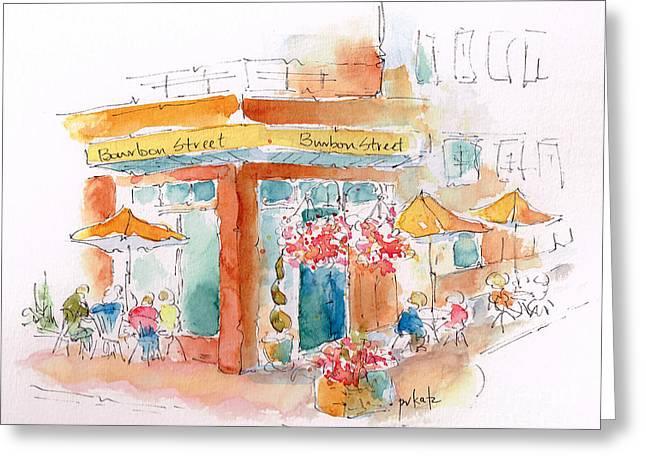 Bourbon Street Restaurant In Bend Greeting Card by Pat Katz