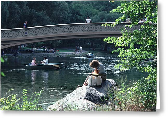 Bow Bridge In Central Park Nyc Greeting Card by Tom Wurl