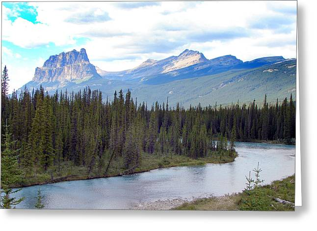 Bow River By Castle Mountain Greeting Card