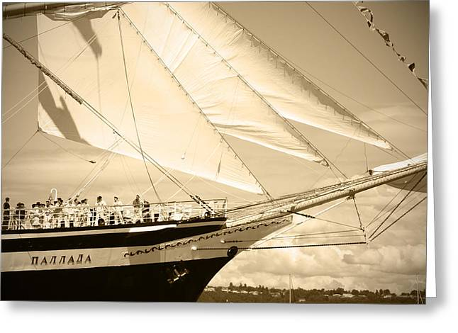 Bow Sprit Of Tall Ship Greeting Card by Kym Backland