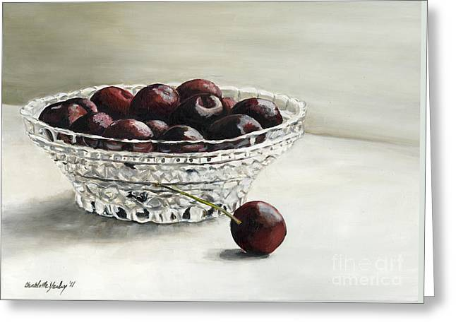Bowl Full Of Cherries Greeting Card by Charlotte Yealey