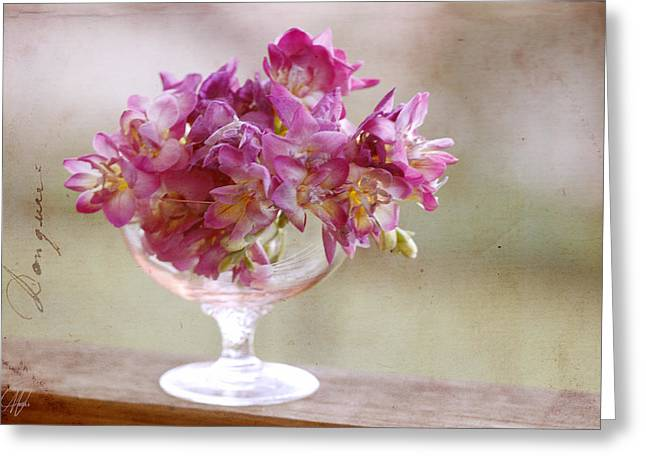 Bowl Of Freesias Greeting Card by Margaret Hormann Bfa