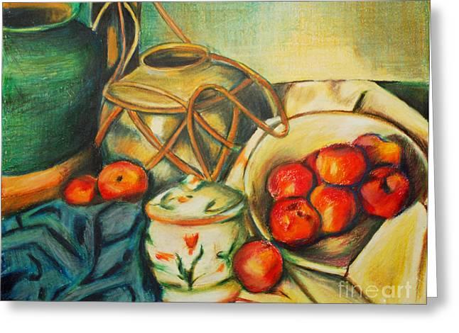 Bowl Of Peaches Greeting Card by Joe McGinnis
