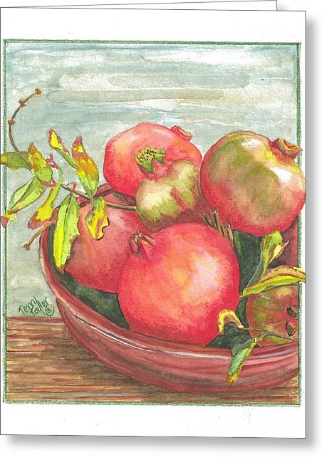 Greeting Card featuring the painting Bowl Of Pomegranates by Terry Taylor