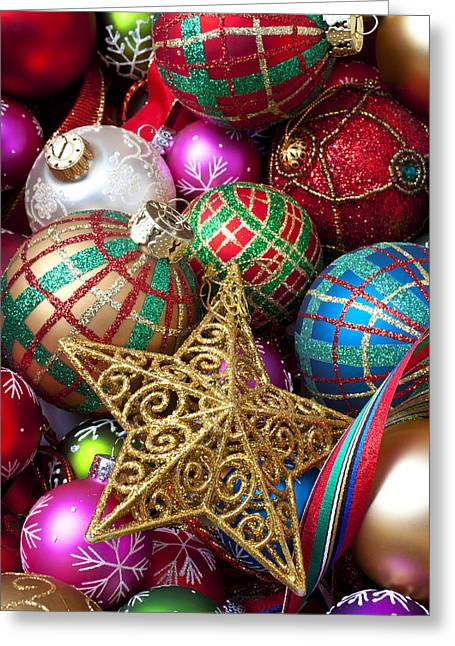 Box Of Christmas Ornaments With Star Greeting Card by Garry Gay