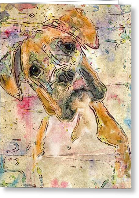 Boxer Babe Greeting Card
