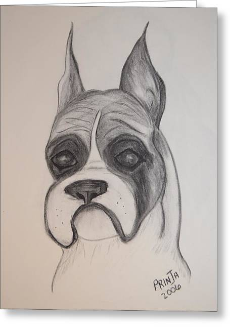 Greeting Card featuring the drawing Boxer by Maria Urso