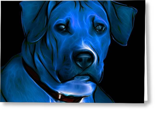 Boxer Pitbull Mix Pop Art-blue Greeting Card by James Ahn