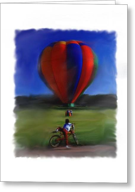 Boy  And Balloon Greeting Card