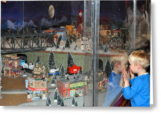 Boy And Christmas Trains Greeting Card by Diane Lent