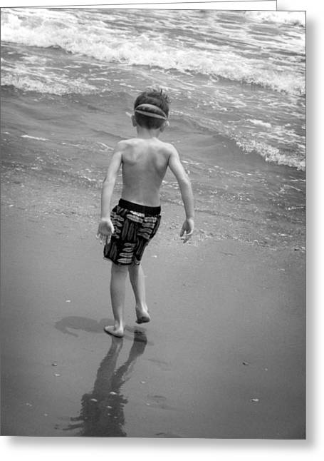 Greeting Card featuring the photograph Boy At The Ocean by Kelly Hazel