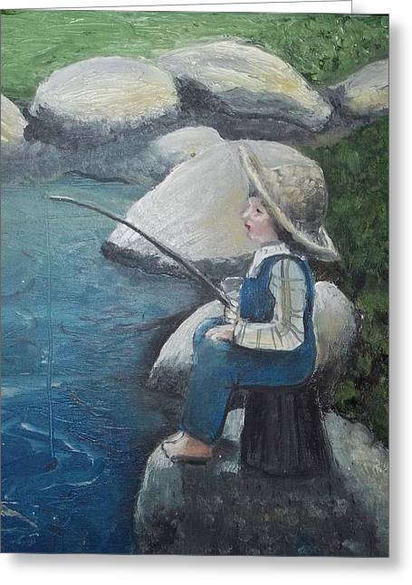 Greeting Card featuring the painting Boy Fishing by Angela Stout