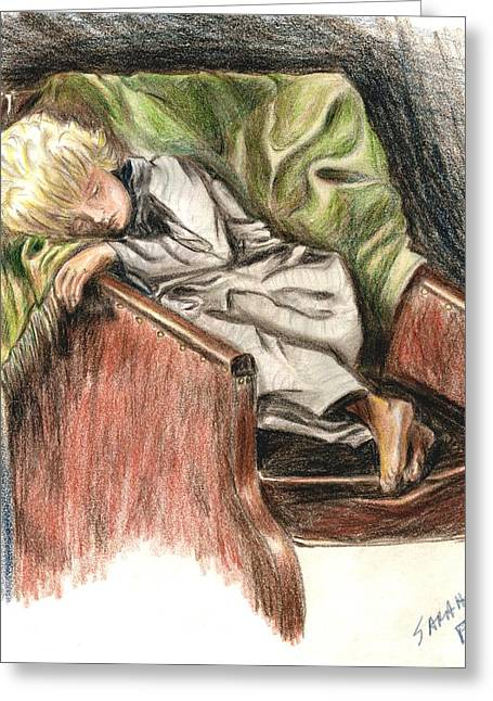 Boy In Chair Greeting Card