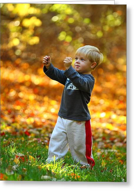 Boy In Fall Greeting Card by Kevin Schrader