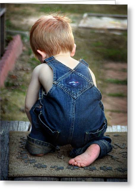 Boy In Overalls Greeting Card by Kelly Hazel