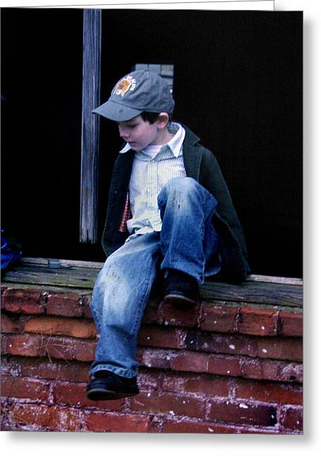 Boy In Window Greeting Card