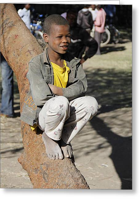 Boy In Zen Thought Greeting Card by Robert SORENSEN