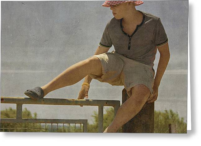 Paul Grand Greeting Cards - Boy on a fence waiting for Lance Armstrong Greeting Card by Paul Grand