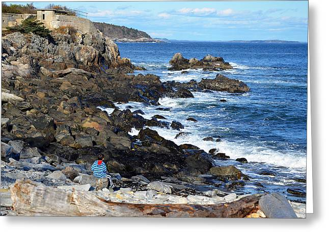 Greeting Card featuring the photograph Boy On Shore Rocky Coast Of Maine by Maureen E Ritter