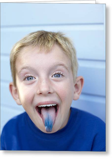 Boy With A Blue Tongue Greeting Card by Ian Boddy
