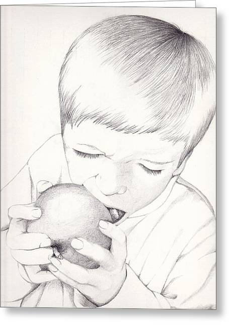 Boy With Apple Greeting Card