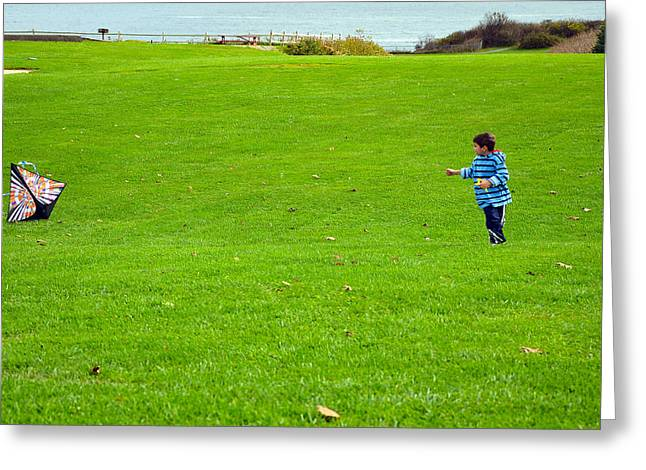 Greeting Card featuring the photograph Boy With His Kite Maine by Maureen E Ritter