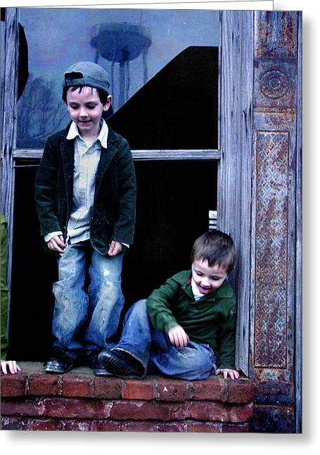 Greeting Card featuring the photograph Boys In A Window by Kelly Hazel