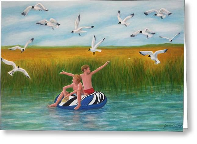 Boys Sharing With Laughing Gulls Greeting Card