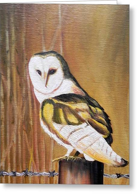 Bran Owl Greeting Card by Usha Rai