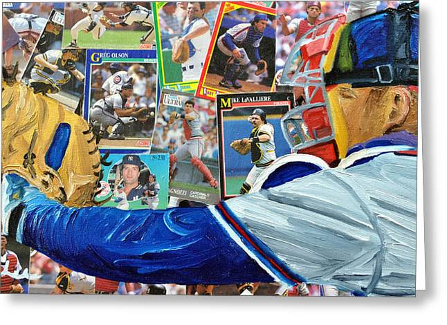 Braves Catcher Greeting Card by Michael Lee