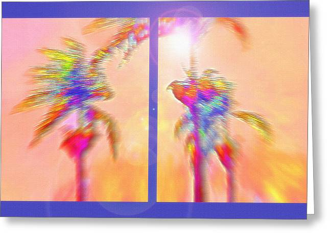 Brazilian Tropical Sunset Diptych Greeting Card by Steve Ohlsen