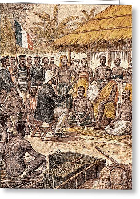 Brazza In Africa, 1880 Greeting Card by Granger