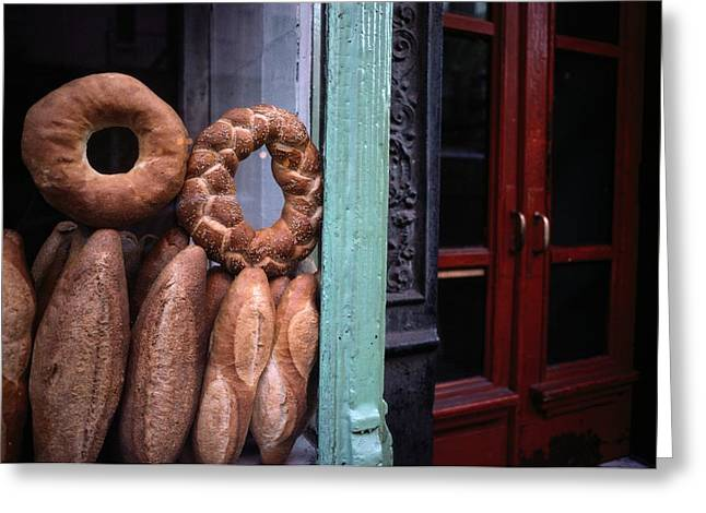 Bread Is Displayed In A Store Window Greeting Card