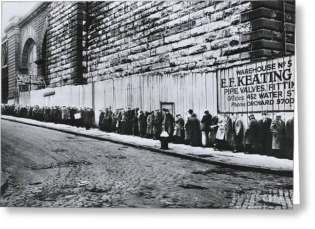 Bread Line Beside The Brooklyn Bridge Greeting Card by Photo Researchers