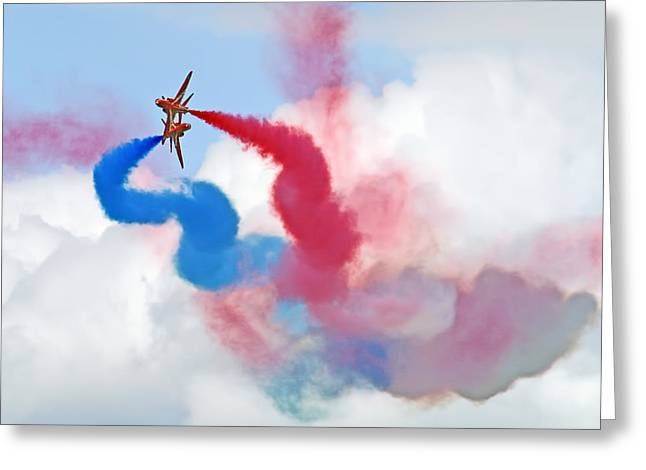 Break  Red Arrows - Dunsfold 2012 Greeting Card by Colin J Williams Photography