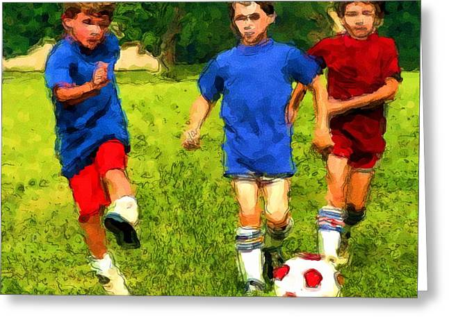 Greeting Card featuring the painting Breakaway Goal by Dennis Lundell