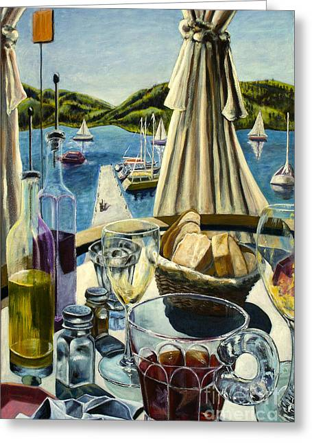 Greeting Card featuring the painting Breakfast In Skradin by AnneKarin Glass