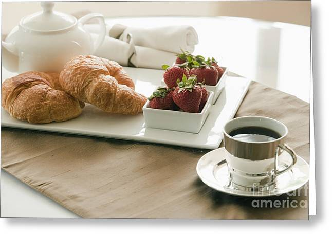 Breakfast Setting On Table Greeting Card