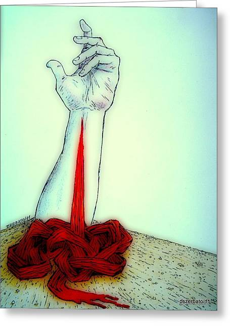 Breaks The Heaven With The Same Hand Breaks The Earth Greeting Card by Paulo Zerbato