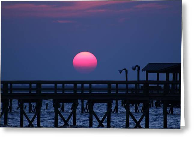 Breathtaking Sunset Over Calcasieu Lake Pier Greeting Card by Debi York