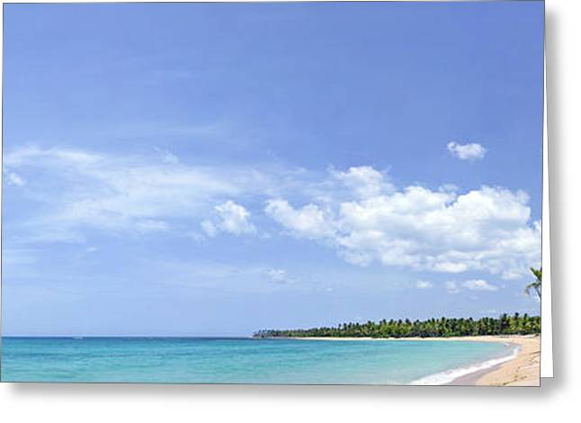 Greeting Card featuring the photograph Breathtaking Tropical Beach Panorama by Sebastien Coursol